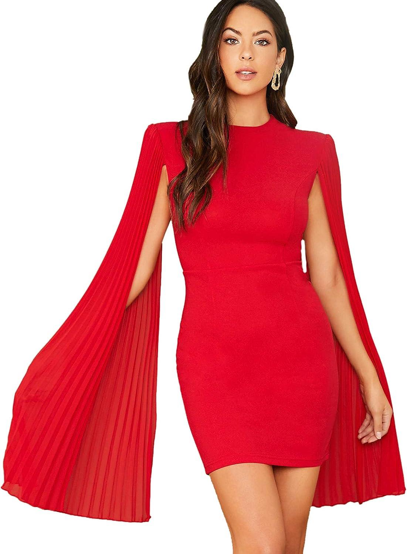 SheIn Women's Mesh Cloak Pleated Split Long Sleeve Mini Short Bodycon Cape Dress