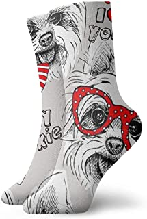 N / A, Schnauzer With Bow Socks Crew - Calcetines para hombre, mujer, niños, trekking, Performance, exterior, 30 cm