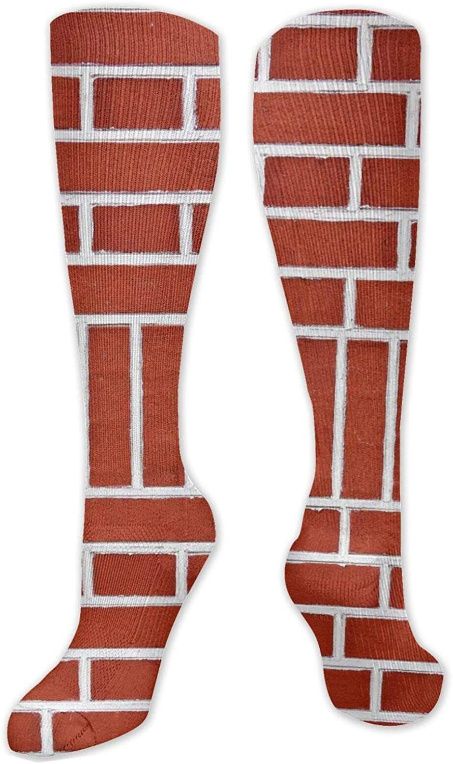 Red Wall Brick Texture Knee High Socks Leg Warmer Dresses Long Boot Stockings For Womens Cosplay Daily Wear