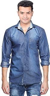 Niue Men's Denim Regular Fit Solid Full Sleeve Shirt (Light Blue)