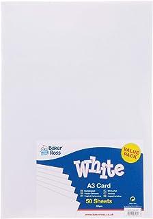 Baker Ross Cartulina blanca A3 - Láminas de cartulina blanca de 220 g/m2 (Pack de 50)