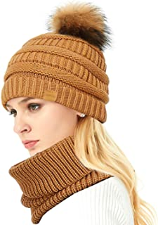 IKEPOD Womens Merino Wool Knit Beanie Hat Cap with Raccoon Fur Pom Pom Bobble/Cute Pony Tail Hole