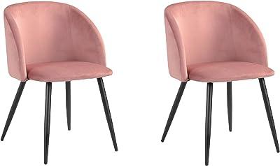 Lot de 2 Fauteuils de salle à manger et de salon, en velours rose, style Scandinave, pieds en métal noirs.