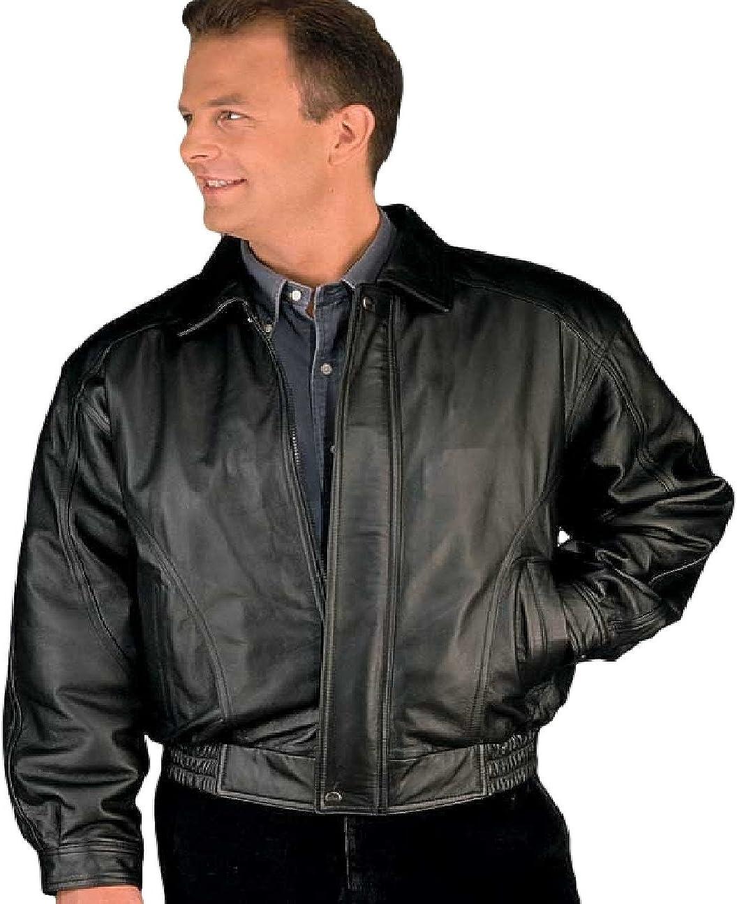 Reed Men S American Style Bomber Genuine Leather Jacket Amazon Co Uk Clothing