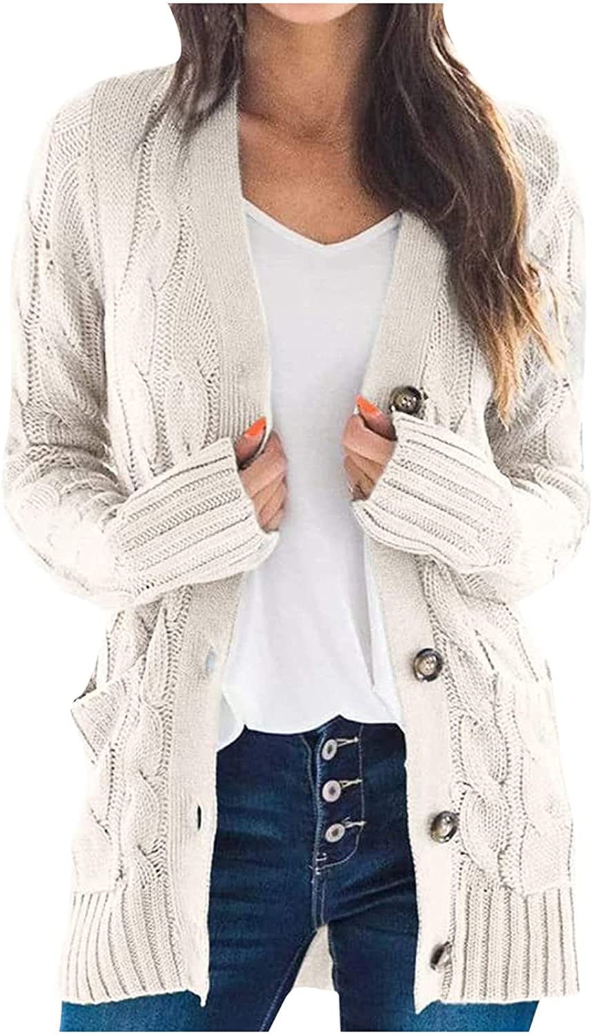 BOXIACEY Cardigan Sweater for Women Solid Button Open Front Knit Slouchy Coats Long Sleeve Outerwear with Pocket