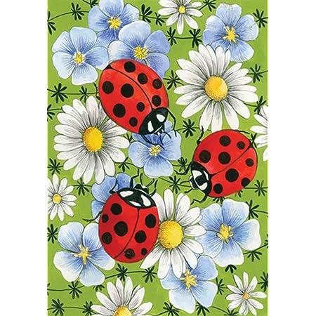 Amazon Com Toland Home Garden Flowers And Ladybugs 12 5 X 18 Inch Decorative Spring Daisy Flower Bug Garden Flag Outdoor Flags Garden Outdoor