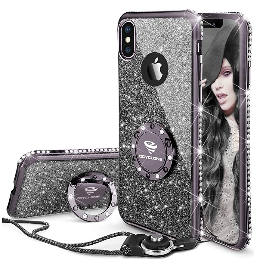 OCYCLONE iPhone X/XS Case Cute, Glitter Bling Girly Diamond Rhinestone Bumper with Ring Kickstand Stand Protective Phone Case for iPhone X/iPhone Xs for Women Girls Teens - Purple Black