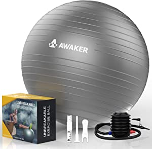 AWAKER Exercise Ball(55-75cm) Anti-Burst Yoga Ball Chair with Quick Pump for Stability, Fitness, Balance, Yoga, Core, Desk Chairs & Home Gym Exercise Ball - Workout Guide Included