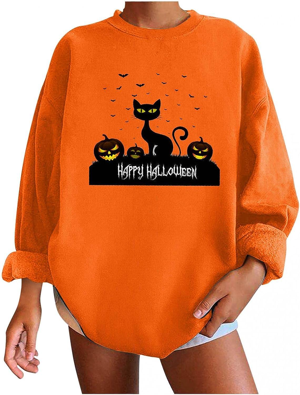 Oversized Women's Shirts Halloween: Casual Long Sleeve Tops Funny Pumpkin Cat Graphic T-Shirts Pullover Sweatshirts