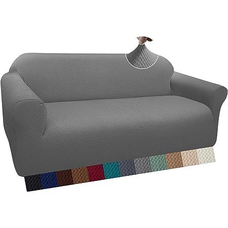 Granbest Housse de canapé épaisse et élégante - Housse de canapé élastique en Jacquard avec accoudoirs pour Le Salon - Antidérapante(3 Places, Gris Clair)