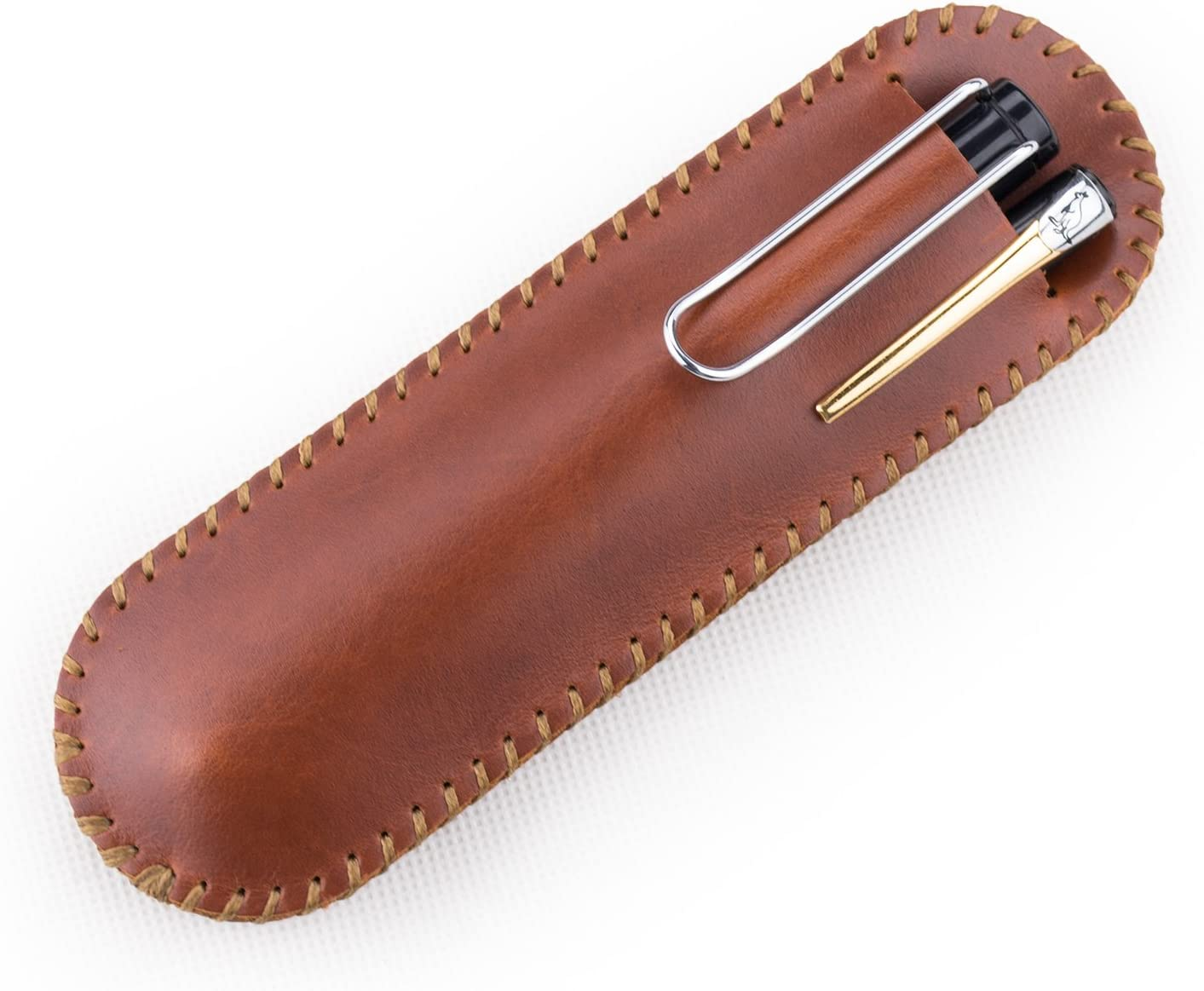 Ancicraft Leather Pen Case 2 Pens Pouch Holder Sleeve Double Sales For Regular store