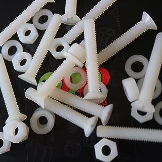 50 x nylon verzonken schroeven, machinebouten, M5 x 40 mm, kunststof schroeven, moeren & sluitringen