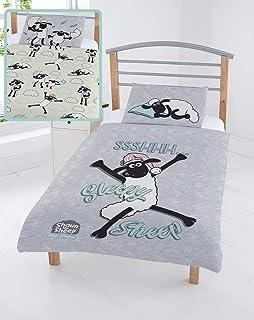Shaun The Sheep Funda Nórdica Infantil de La oveja Shaun | Conjunto De Funda Nórdica + Funda De Almohada Infantil | Decoración Ropa De Cama Niños | Regalos originales Para Ninos