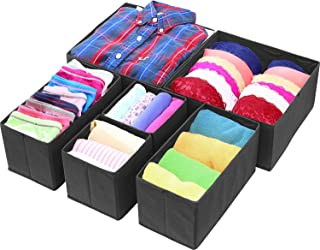 House of Quirk Foldable Cloth Storage BoxCloset Dresser Drawer Organizer Cube Basket Bins Containers Divider with Drawers for Underwear, Bras, Socks, Ties, Scarves, Set of 6 (Black)