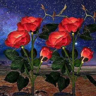2 Pack Solar Garden Stake Lights Outdoor, Solar Rose Flower Lights Upgraded LED Flower Powered Light with 6 Rose Flowers f...