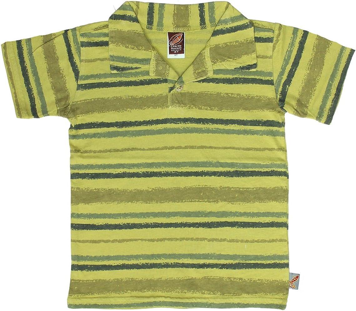 Charlie Rocket Little Boys' Stripe Polo in Pear (c)