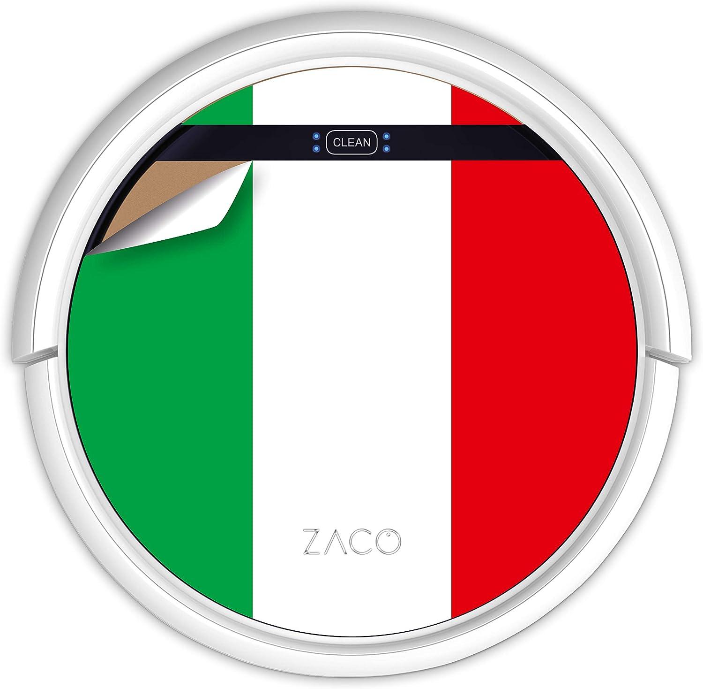 ZACO V5sPro Robot Aspirador y fregasuelos, aspirar y Fregar hasta 180m2, para Suelos Duros, Madera, parquet y alfombras, sin Bolsa, Mando a Distancia, 300ml, para pelos de Mascotas, Bandera Italiana