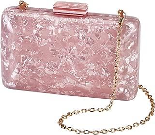BRANDWINLITE Women's Evening Handbag box clutch Acrylic Stripes Shoulder Bag for Party Champagne Evening Bag