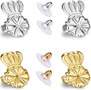 AmzonBasics - Original Magic Earring Lifters Adjustable Earring Lifts Earring Backs Bullets and Patches 2 Pairs Earring Lifters Backs Silver (Earring liters)