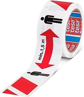 tesa Signaal Social Distancing Tape – markeringsband tot afstand houden – 1,5 m veiligheidsafstand markeren, zelfklevend, ...