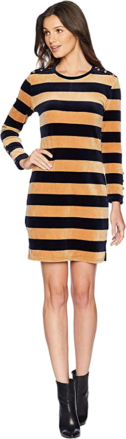 Track Stretch Velour Striped Fitted Dress