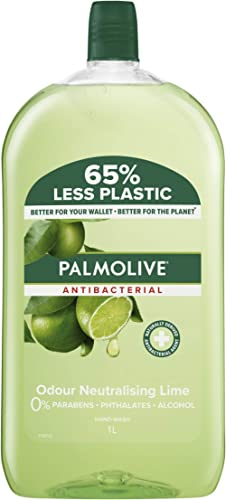 Palmolive Antibacterial Liquid Hand Wash Soap Lime Odour Neutralising Refill and Save 0% Parabens Recyclable, 1L