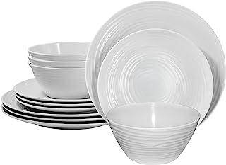 Parhoma - Vajilla de melamina para el hogar, de plástico, 12 piezas, servicio para 4, blanco