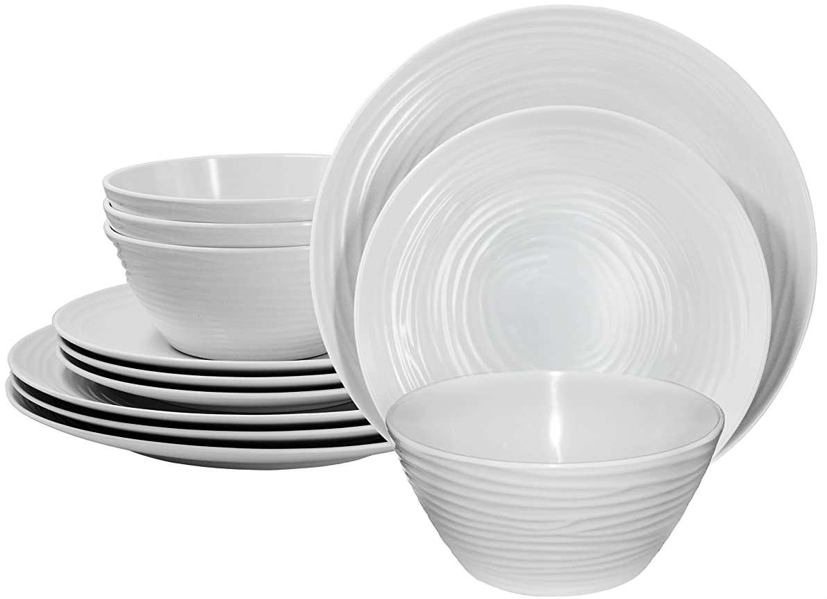 Parhoma White Melamine Home Dinnerware Set, 12-Piece Service for 4