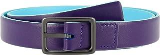 DUDU Cintura da Donna in Vera Pelle Made in Italy Bicolore Accorciabile H 24mm con Fibbia in Metallo Viola da 100 cm