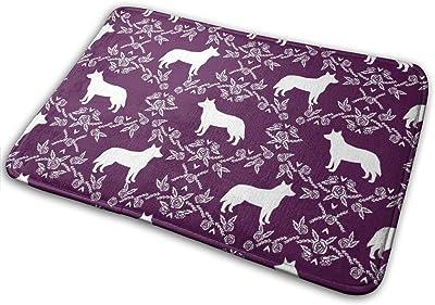 """Australian Cattle Dog Pet Quilt C Cheater Quilt Silhouette Coordinate_23616 Doormat Entrance Mat Floor Mat Rug Indoor/Outdoor/Front Door/Bathroom Mats Rubber Non Slip 23.6"""" X 15.8"""""""
