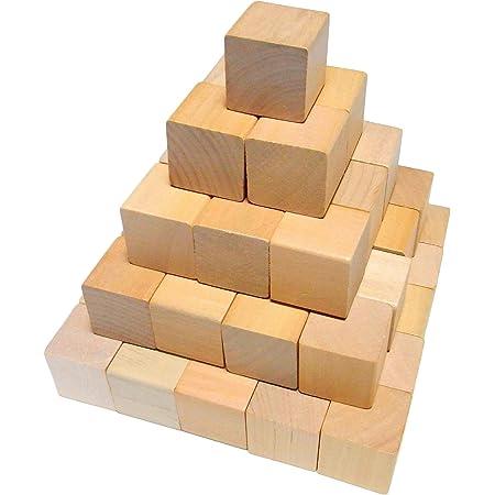 木製 ブロック 50個セット 知育 玩具 積み木 立方体 おもちゃ (3cmx3cmx3cm, ナチュラルウッド)