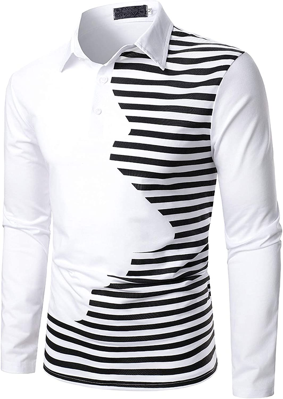 HONGJ Patchwork Polo Shirts for Mens, 2021 Fall Long Sleeve Zipper Button Turn-down Collar Business Casual Shirt Tops