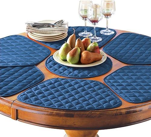 new arrival Collections Etc Kitchen lowest Table Placemat online sale and Centerpiece Set - 7 Pc, Blue online sale