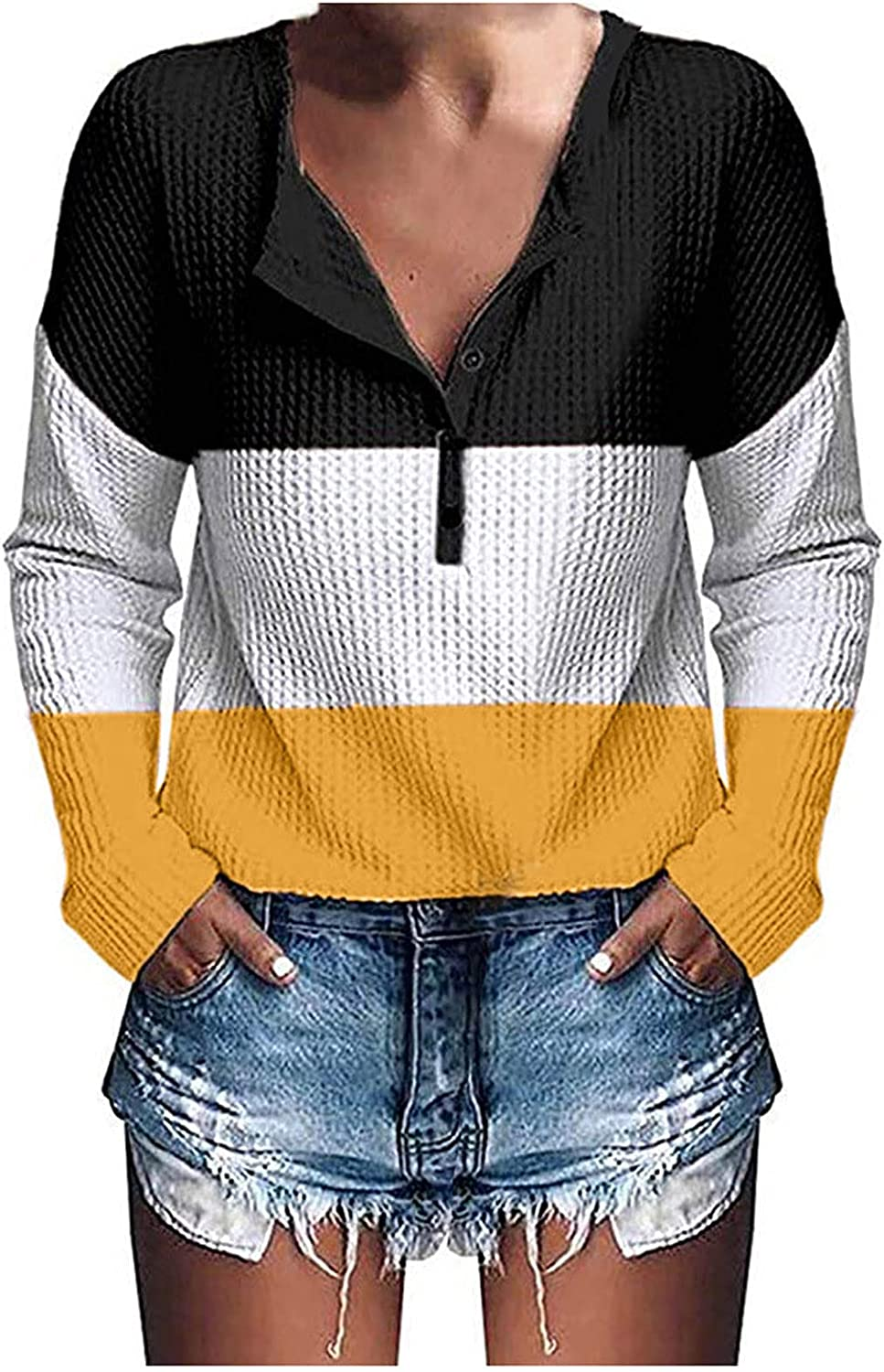 Women Knitted Sweaters Tops Splicing Shirts Button Down Blouse Long Sleeve Fall Jumper Pullover Trendy Comfy Tunic