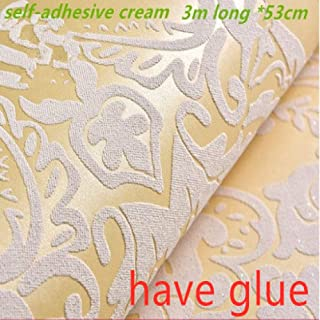 LZYMLG Self-Adhesive Non-Woven Fabric European Flower Wallpaper 3D New Home Decoration Wallpaper Warm Living Room Bedroom Tv Background Cream 3m x 53cm