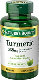 Nature's Bounty Turmeric Pills and Herbal Health Supplement, Supports Joint Pain Relief and Antioxidant Health, 538mg, 45 Capsules