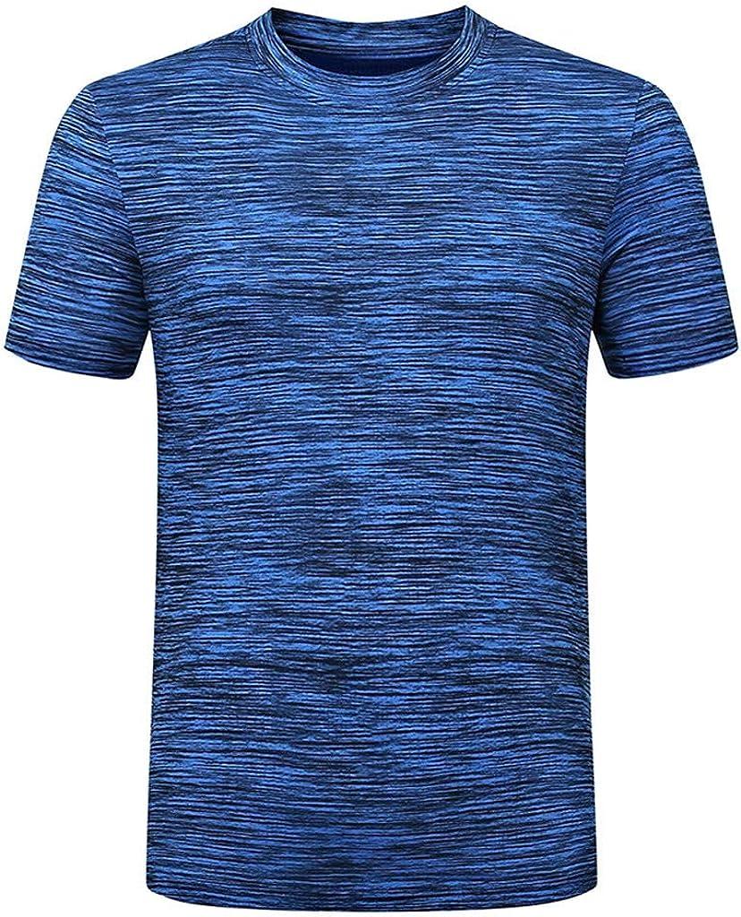 MODOQO Shirt for Men,Summer Slimd Fit Short Sleeve Solid Color Fitness Running Tees