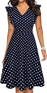 BOKALY Women's Vintage Ruffles Floral Flared Swing A-Line Casual Party Dresses