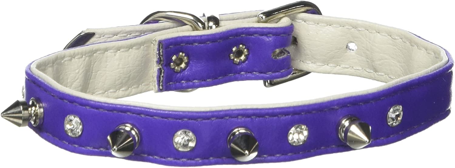 Mirage Pet Products Just The Basics Crystal and Spike Collars, 12Inch, Purple