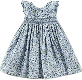 Edgehill Collection Toddler Girl's Cotton Dress Blue Sleeveless Smocked, 3T