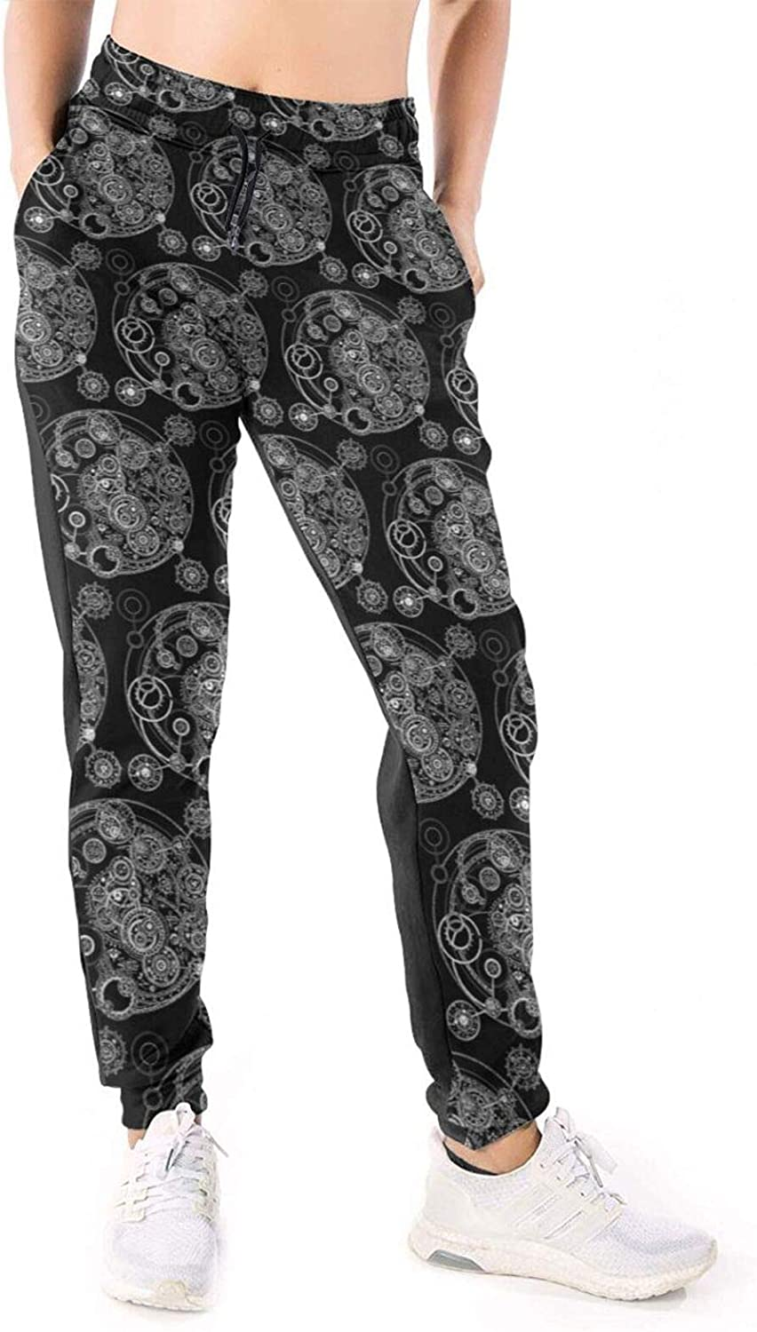 Women Joggers Pants Steampunk Gears Earth White Athletic Sweatpants with Pockets Casual Trousers Baggy