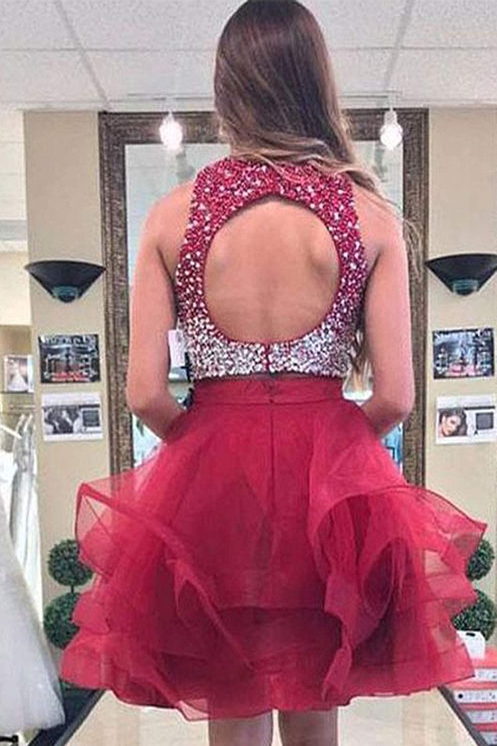 QueenBridal Women's Two Piece Homecoming Dress Short Open Back Prom Ball Gown Qb-20