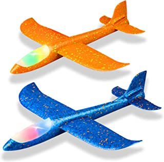 """2 Pack LED Light Airplane,17.5"""" Large Throwing Foam Plane,2 Flight Mode Glider Plane,Flying Toy for Kids,Gifts for 3 4 5 6..."""