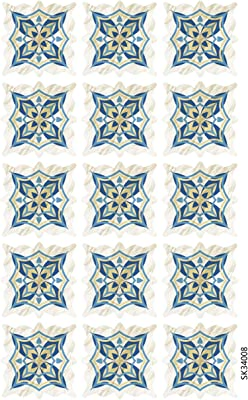 Jaamso Royals 15pcs Blue Ceramic Tile Stickers Waterproof Floor , Kitchen Wall Sticker (30 x 45 cm)