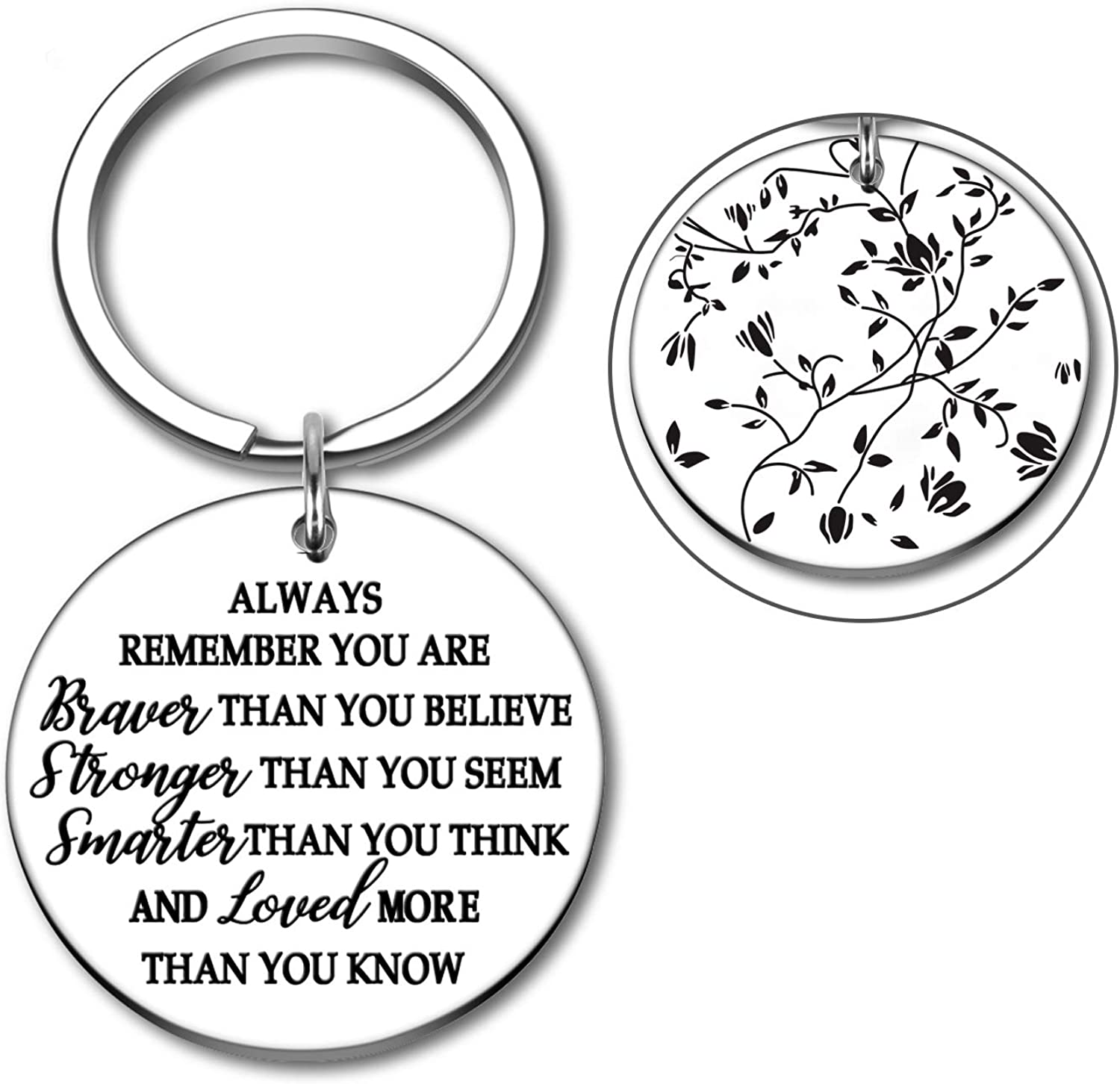 Inspirational Keychain for Son Daughter Christmas 2021 Graduation Women Men Friend Presents for Kids Teenagers Key Tags You are Braver Than You Believe Stronger