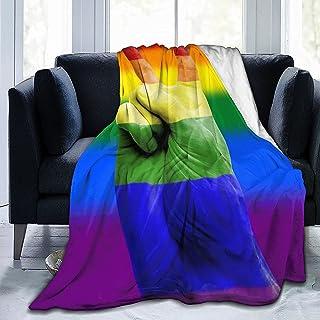 GOSMAO rzut koce LGBT Pride Lips czarny Hippie Art puszysty koc na sofę oddychający miękki ciepły rzut do domu i biura pod...