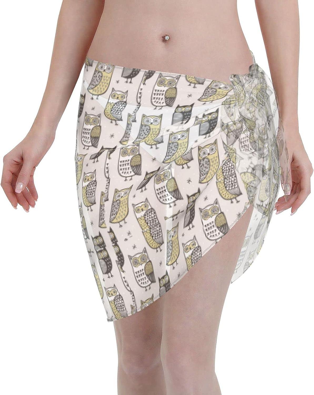 Owls Women Short Sarongs Beach Wrap Sheer Bikini Wraps Chiffon Cover Ups for Swimwear Black