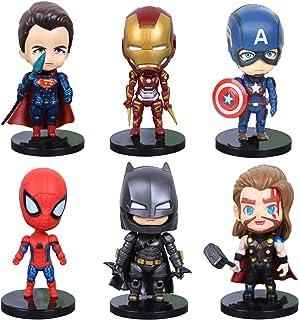 6 Pcs Superhero Action Figures Sets of Batman, Superman, Spiderman, Thor, Ironman, Captain America,PVC Figure Toy Dolls–Su...