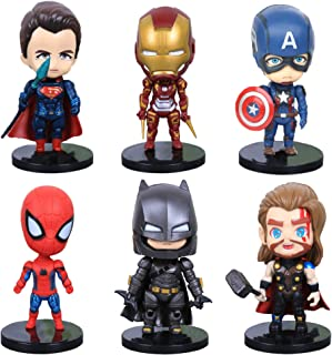 YongEnShang Marvel Super Hero Sets of Superman, Iron Man, Captain America, Spider Man, Thor, Batman, Titan Hero Series 6 Pack, Action Figures, Cake Decoration, Children's Toys