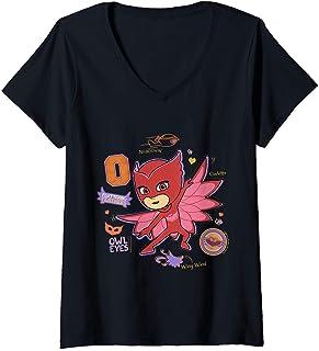Femme PJ Masks Owlette T-Shirt avec Col en V